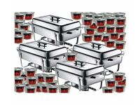 Four Pack 1-1 GN Chafing Dishes and 72 x Tins 3 Hour Fuel