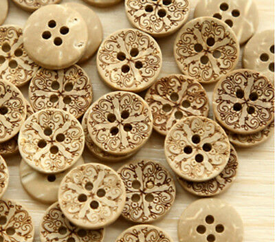Lot Of 10 Cross 4 Hole Coconut Shell Buttons 1 2   12Mm  Scrapbook Craft  1173