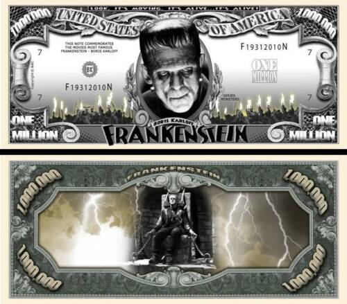 Frankenstein Silver Million Dollar Bill Funny Money Novelty Note + FREE SLEEVE