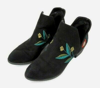 Indigo Rd Womens Size 8.5 Black Suede Embroidered Floral Design Booties