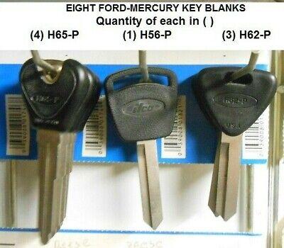 Eight H57-P, H62-P, H65-P key Blanks fits Ford-Mercury