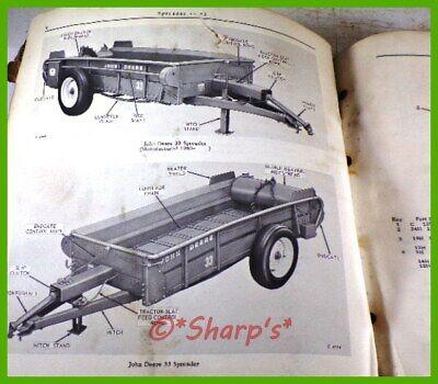 Pc741 John Deere 33 Manure Spreader Parts Catalog 1965 Version Dealership
