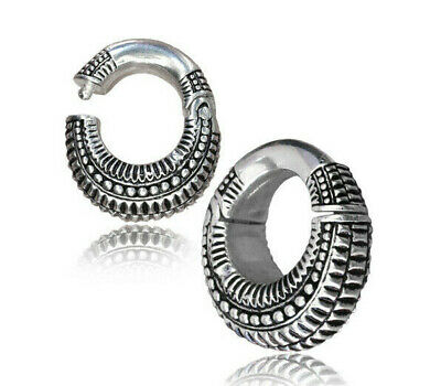 PAIR 2G (6mm) HINGED SILVER PLATED EAR WEIGHTS PLUGS TUNNELS STRETCH GAUGE HOOPS for sale  Clearfield