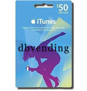 $50 iTunes Gift Card Certificate Voucher 100% Apple US --WORLDWIDE--