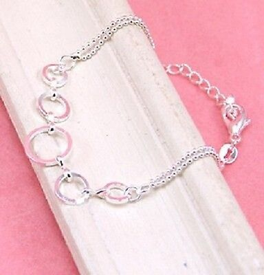 925 Sterling Silver Plated 5 Connected Circle Bracelet B008 Circle Silver Plated Bracelet