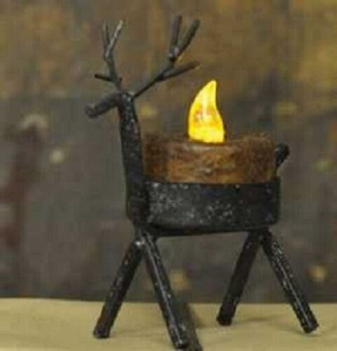 NEW!! Primitive Country Christmas Black Iron Tealight Reindeer Candle Holder