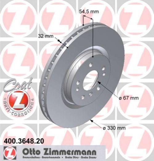 Bremsscheibe MERCEDES Coat Z ZIMMERMANN 400.3648.20 für MERCEDES-BENZ: 164 421