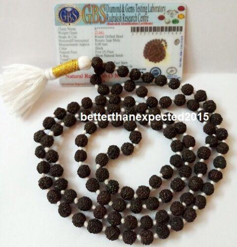 RARE BLACK RUDRAKSHA MALA HOLY HINDU 108 +1 BEADS ROSARY MALA 7 MM SIZE NECKLACE