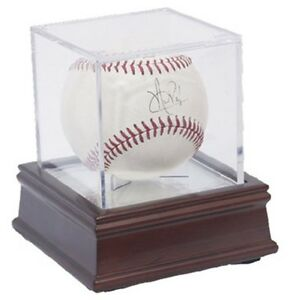 BCW BallQube Baseball Holder with Wood and Mirror Base Cube Ball Display Case