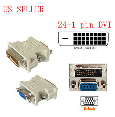DVI-D (24+1) Dual Link Male to VGA HD15 Female Adapter Converter for PC Laptop