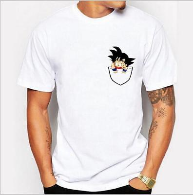Mens Japanese Anime Dragon Ball Z Little Son Goku Printed Short Sleeve T-shirt
