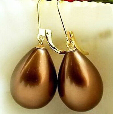 Chocolate Brown Sea Shell Pearl Drop Yellow Gold Plated Leverback Hook Earrings Brown Pearl Drop