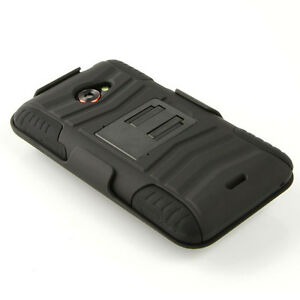 Silicone Case for HTC EVO 4G LTE Sprint Stand Pouch Holster Cover Black Skin