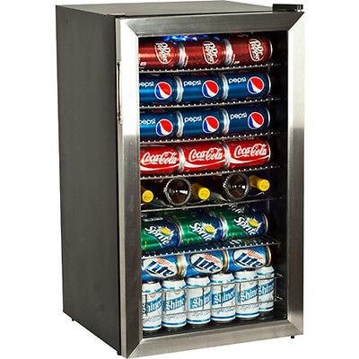 118 Can Glass Door Refrigerator Beverage Cooler, ...
