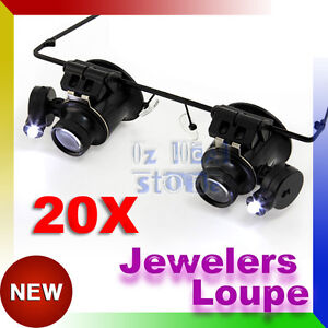 20x Headband Magnifier Jewellers Magnifying Glass Head  Eye Loupe Led Lamp Lens