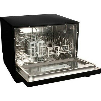 Koldfront Countertop Dishwasher, 6 Setting Black Compact Portable Dish Washer