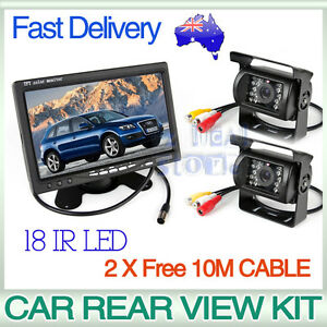 Car Rear View Kit 2X 18 IR LED CCD Reversing Camera+7