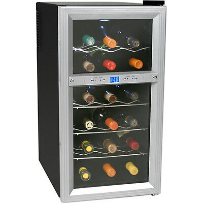 18 Bottle Stainless Steel Dual-Zone Wine Cooler, Compact Countertop Refrigerator