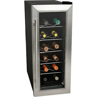 Koldfront 12 Bottle Slim-Fit Wine Cooler, Stainless Steel Thermoelectric Chiller