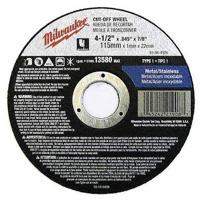 Milwaukee 49-94-4500 Cut-off Wheel 4-1/2 In. X .045 In. X 7/8 In. (type 1)