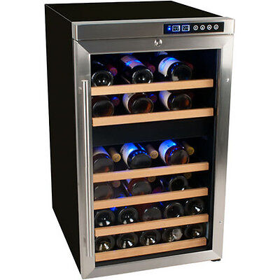 Stainless Steel 34 Bottle Dual-Zone Wine Cooler, Compact Red White Cellar Fridge