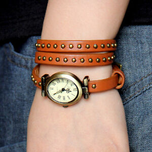 Geunine-leather-long-strap-mosaic-rivets-quartz-woman-watch-brown