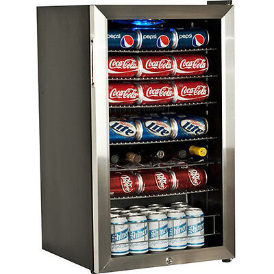 Stainless Steel Beverage Refrigerator ~ Compact Drink & Wine Cooler Mini Fridge