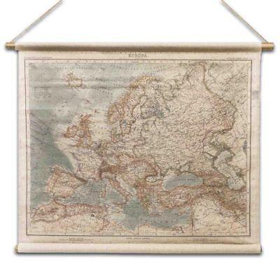 Antike Leinen Holz (Antik Europa-karte Wandkarte aus Leinen Leinwandbild Historie Vintage - Stil)