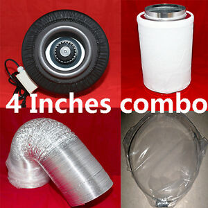"4"" inline fans /carbon filter/32' duct combo  hydroponic"