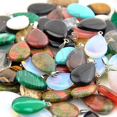 Wholesale Lot 20pcs Natural Gemstone Drop Silver Plated Beads Pendant](Wholesale Plates)