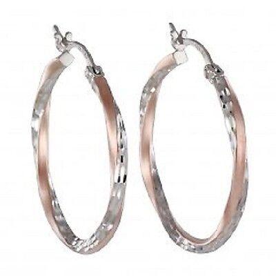 Echt 925 Silber Rosegold *** Creolen Ohrringe bicolor groß diamantiert 30mm online kaufen