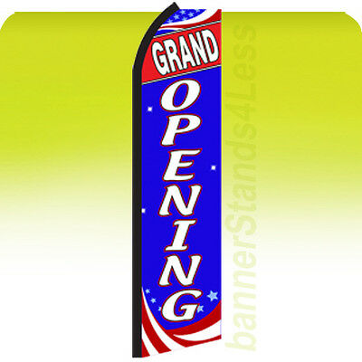 Grand Opening - Swooper Flag Feather Flutter Banner Sign 11.5 Tall - Bz