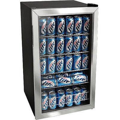 Stainless Steel 118 Can Beverage Cooler Refrigerator ~ Compact Glass Door Fridge