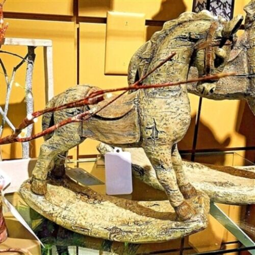 "GERSON 12.2""H RESIN ANTIQUE ROCKING HORSE"
