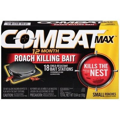 Kill Roach Bait - Combat Max 12 Month Roach Killing Bait Small Roach Bait Station 18 Count