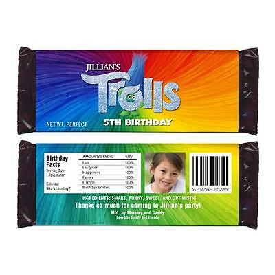 12 Trolls Movie Custom Personalized Birthday Party Candy Wrappers with