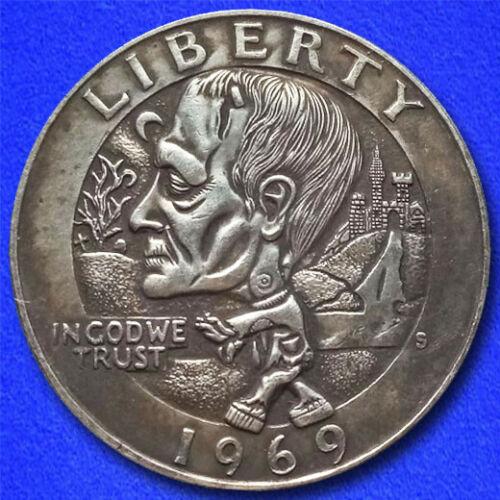"Frankenstein Zombie ""Hobo Nickel"" on Washington Quarter Coin **"