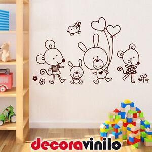 Vinilo decorativo pegatina pared infantil animales ratones - Vinilo pared bebe ...