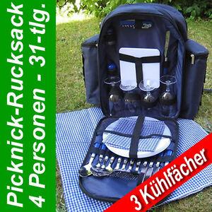 Picknick Set + Rucksack Picknicktasche Thermotasche 4 Personen 31 teilig NEU