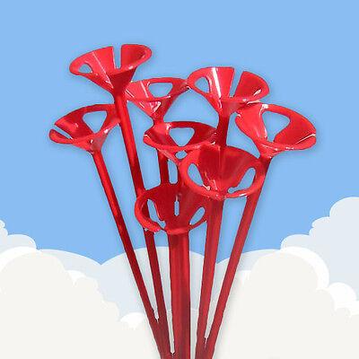 20 RED BALLOON STICKS . . . . plastic holder colour party long tall 1 piece set - Ballon Holders