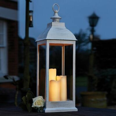 Smart Garden Giant Large Cream Battery Timer Lantern with LED Candles