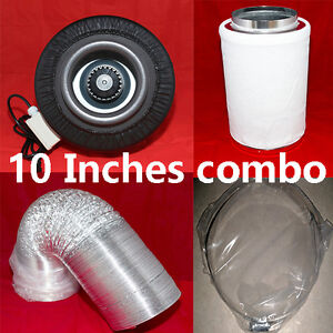 10″ inline fans leather silencer/carbon filter/32′ duct combo