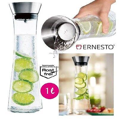 Wasserkaraffe Glaskaraffe Karaffe Glas Edelstahl Küche trinken Flasche Ernesto ()