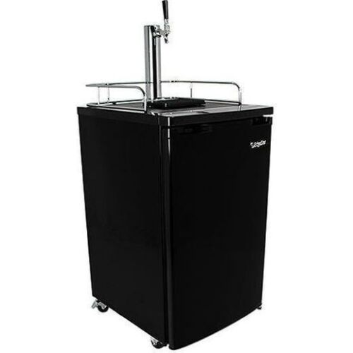 Black Full Size Beer Kegerator, Keg Dispenser Cooler Fridge