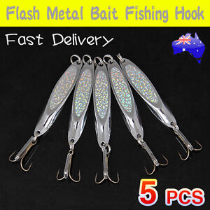 5X Metal Fishing Lure Silver Slice Spoon Bait Tackle Treble Hook Casting Lures