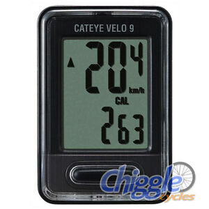 Cateye-Velo-9-Wired-9-Function-Bike-Bicycle-Speedo-Computer-Black-EXPRESS