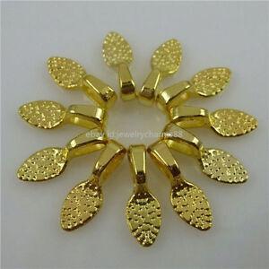 11790 50pcs gold tone oval 15mm glue on bails bail setting