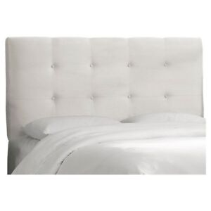 White tufted queen headboard