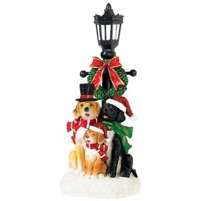 "RAZ IMPORTS 14"" LED LIT LAMP POST WITH DOGS,"