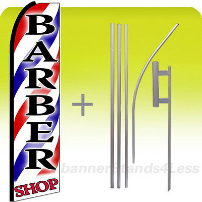 Barber Shop - Swooper Flag 15 Kit Feather Banner Sign - Stripes Red Shop Bq